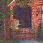 """Porch with Green Bench"" by susansartgallery"