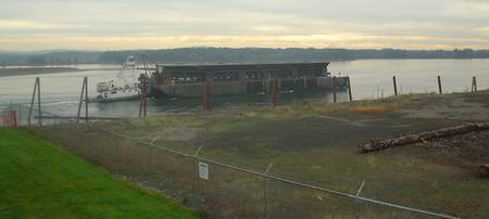 Barge on the Columbia River, St Helens, Oregon, US
