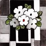"""Square Black & White Funny Flower"" by CarrieLeeAllbritton"