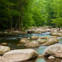 Smooth Smokey Mountain Water Art Prints & Posters by Tony Bazidlo