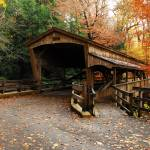 """Lantermans Mill Bridge in Fall"" by PicturelandUSA"