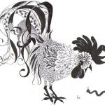 """Rooster and worm"" by Lanorasboutique"