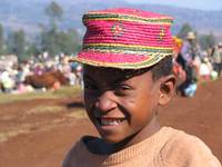 Boy at zebu market in Ansirabe Madagascar