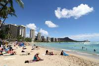 Beach at Waikiki with view of Diamond Head