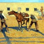"""His First Lesson (1903) by Frederick Remington"" by ArtLoversOnline"