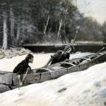 """In a Stiff Current (1892) by Frederick Remington"" by ArtLoversOnline"