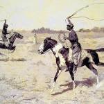 """Lasso Duel to the Death (1901) by Remington"" by ArtLoversOnline"