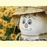 """Scarecrow with Mums (Decorative Border)"" by garystaffordphoto"