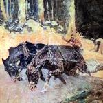 """Snaking Logs to the Skidway (1906) by Remington"" by ArtLoversOnline"