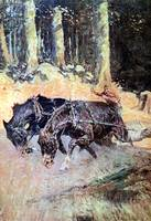Snaking Logs to the Skidway (1906) by Remington