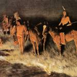"""The Grass Fire (1909) by Frederick Remington"" by ArtLoversOnline"