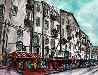 Savannah Georgia River Street watercolour painting