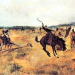 """Breaking Camp (1885) by Charles Russell"" by ArtLoversOnline"