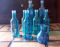 handcrafted turquoise bottles