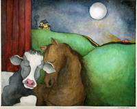Cow and Horse under Moon