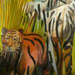 """Tiger and 2 Zebras"" by marklindquist"