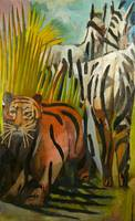 Tiger and 2 Zebras