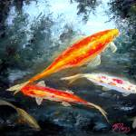 """Koi Fish Oil Painting"" by mazz"