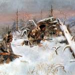"""Crow Indians Hunting Elk (1887) by Charles Russell"" by ArtLoversOnline"