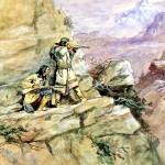 """""""Hunting Big Horn Sheep (1898) by Charles Russell"""" by ArtLoversOnline"""
