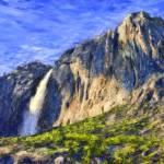 """""""Yosemite Falls (Photo - Painting)"""" by cfu1"""