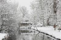 Snow over the river in Surrey England