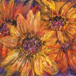 """Textured Yellow and Red Sunflowers"" by nadinerippelmeyer"