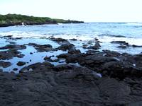 Black sand beach, Punaluu, Kona, Hawaii