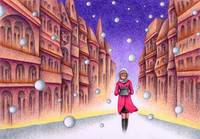 Town Picture - Woman who put on red coat