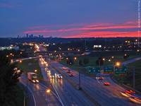 Kansas City Skyline & I-70 after sunset, 22 July 2