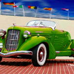 """1935 Green Auburn Model 851 ""Boattail"" Speedster"" by ArtbySachse"