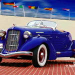 """1935 Blue Auburn Model 851 ""Boattail"" Speedster"" by ArtbySachse"
