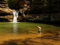 Wading in the Water, Upper Falls of Old Man's Cave