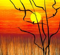 Digital painting of tree in a sunset