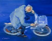 Old Man Cycling In Paris Fine Art Giclee Print