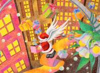 Christmas art - Father Christmas in city