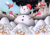 Christmas art - Snowman and Father Christmas