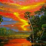 """Fire Sky over the Country Pond"" by mazz"