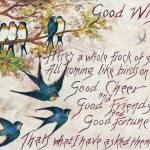"""Postmarked 1908 Good Wishes Blue Birds"" by angelandspot"