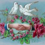 """Doves and Handshake Birthday"" by angelandspot"