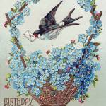 """Basket of Blue Flowers Bird Birthday Vintage Postc"" by angelandspot"