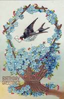 Basket of Blue Flowers Bird Birthday Vintage Postc