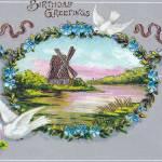 """Birthday Blue Flower Wreath Doves Vintage"" by angelandspot"