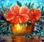 Hibiscus Painting by Mazz Original Paintings