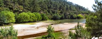 LAKE MARES-THASSOS GREECE-PANORAMIC VIEW.