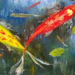 """Koi Fish Pond Reflections"" by mazz"