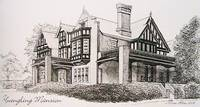 Yuengling Mansion Pottsville Pa black and white