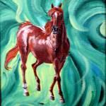 """chestnut with green background 1995"" by cabartbycindybeck"
