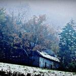 """New Hampshire Cabin In Snow Fog"" by bavosiphotoart"