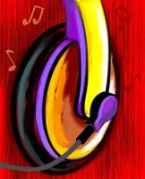 Digital painting of an ear phone